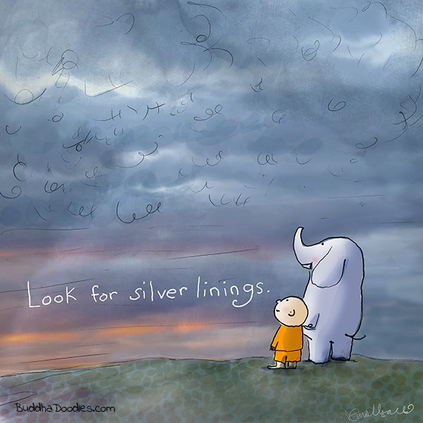 """Look for Silver Linings"" Buddha Doodle"