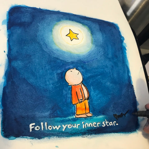 Follow your inner star (Original Buddha Doodle)