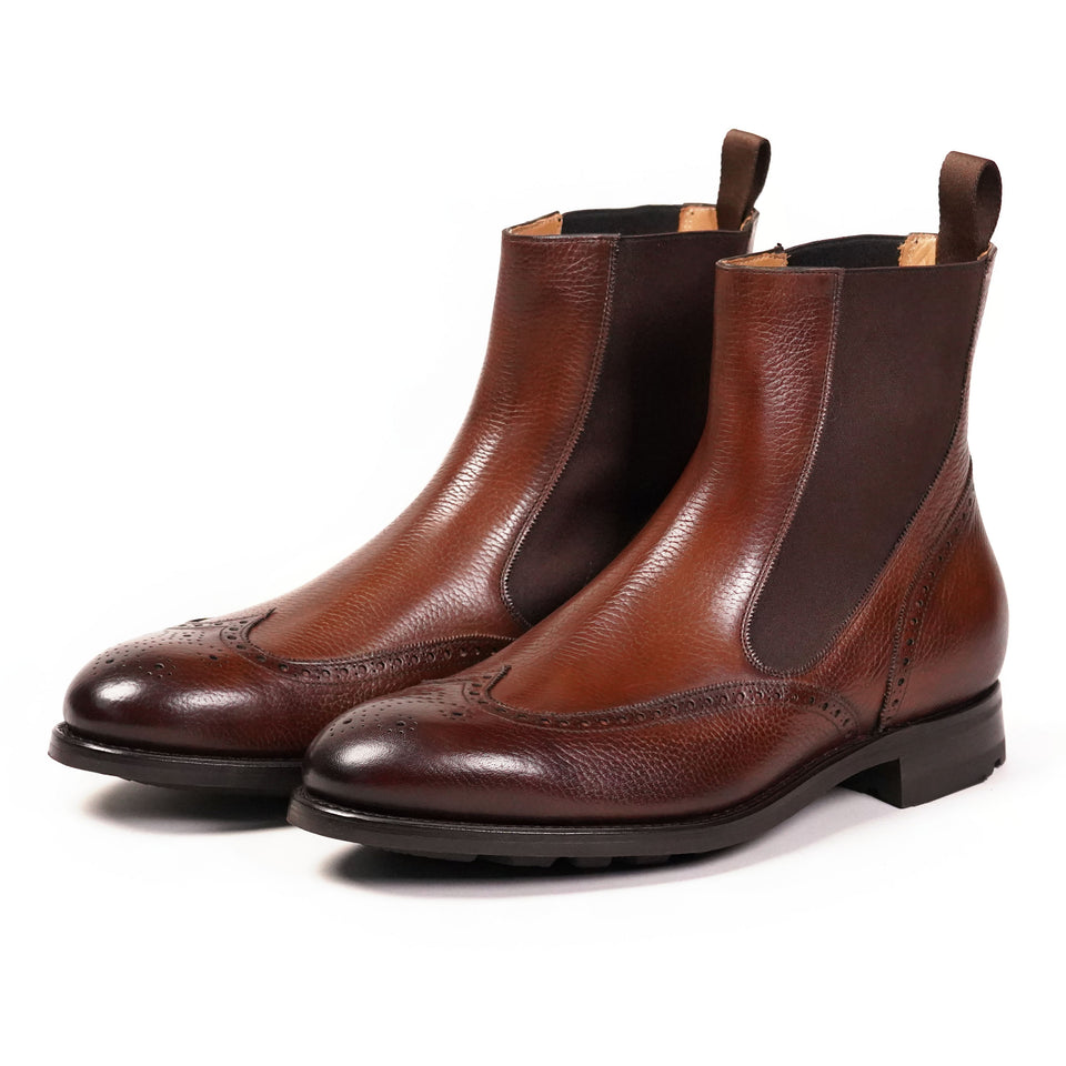 Carlos Santos Elastic-sided Brogue Boots - Camden Connaught Luxury Shoes