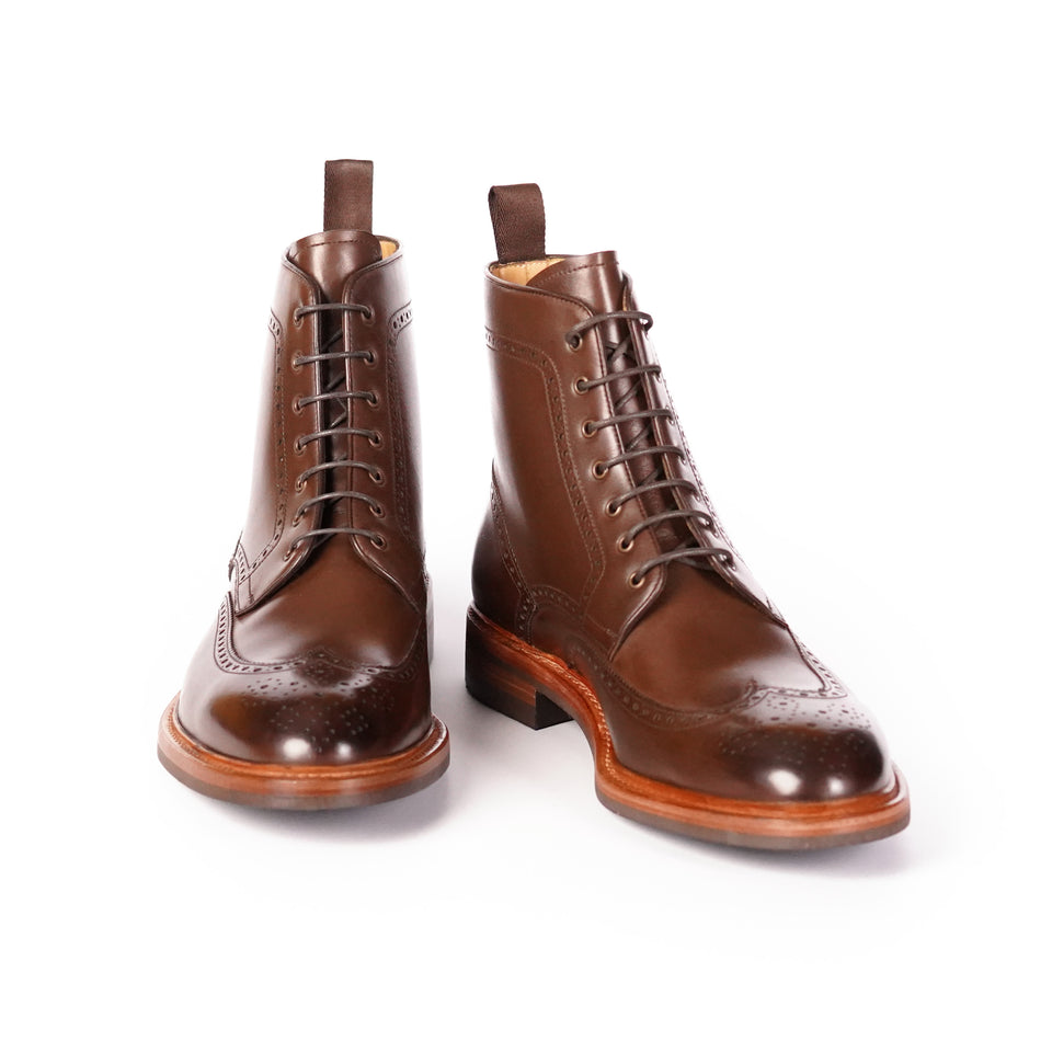 Carlos Santos Brogue Boots (Tanned Brown) - Camden Connaught Luxury Shoes