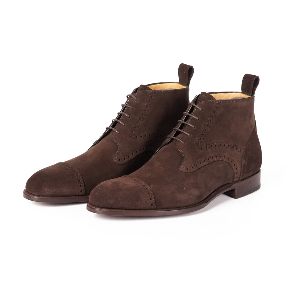 Carlos Santos Ankle Boots (Dark Brown Suede) - Camden Connaught Luxury Shoes