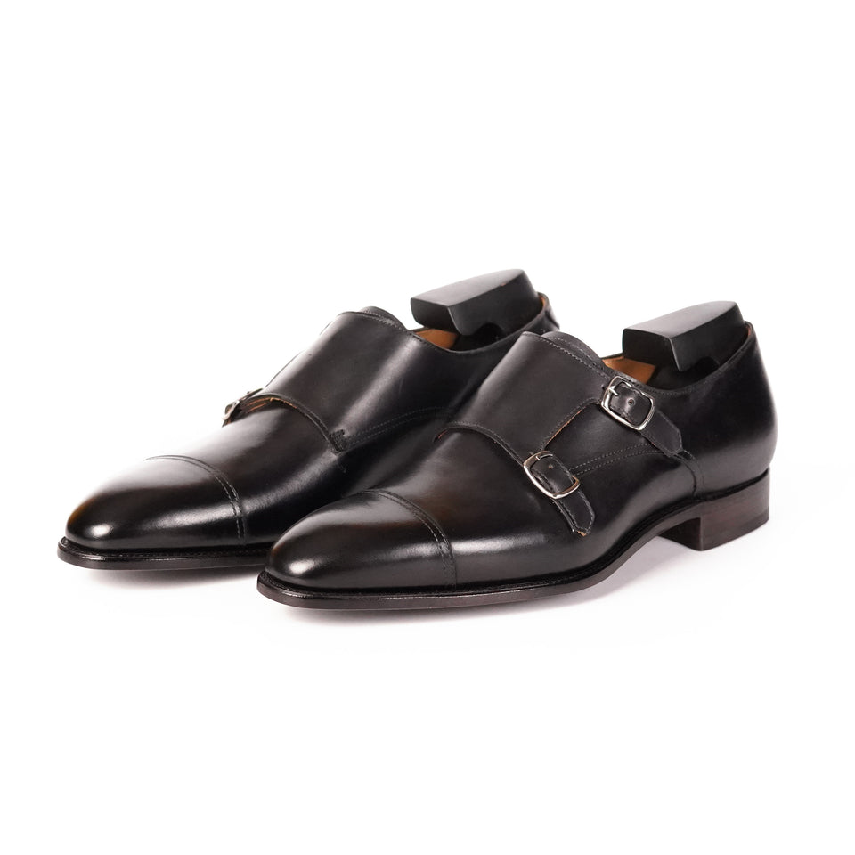 Carlos Santos Double Monk Strap (Noir Shadow) - Camden Connaught Luxury Shoes