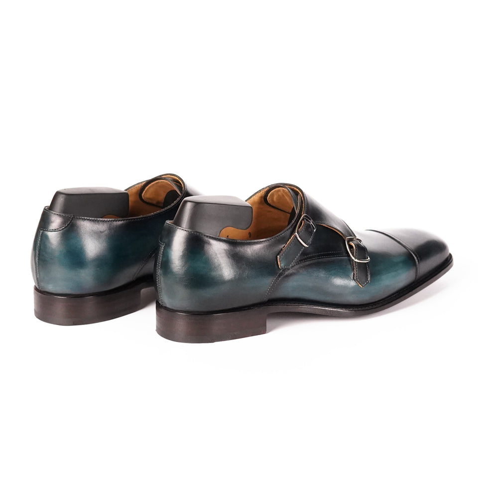 Carlos Santos Double Monk Strap (Petro Shadow) - Camden Connaught Luxury Shoes