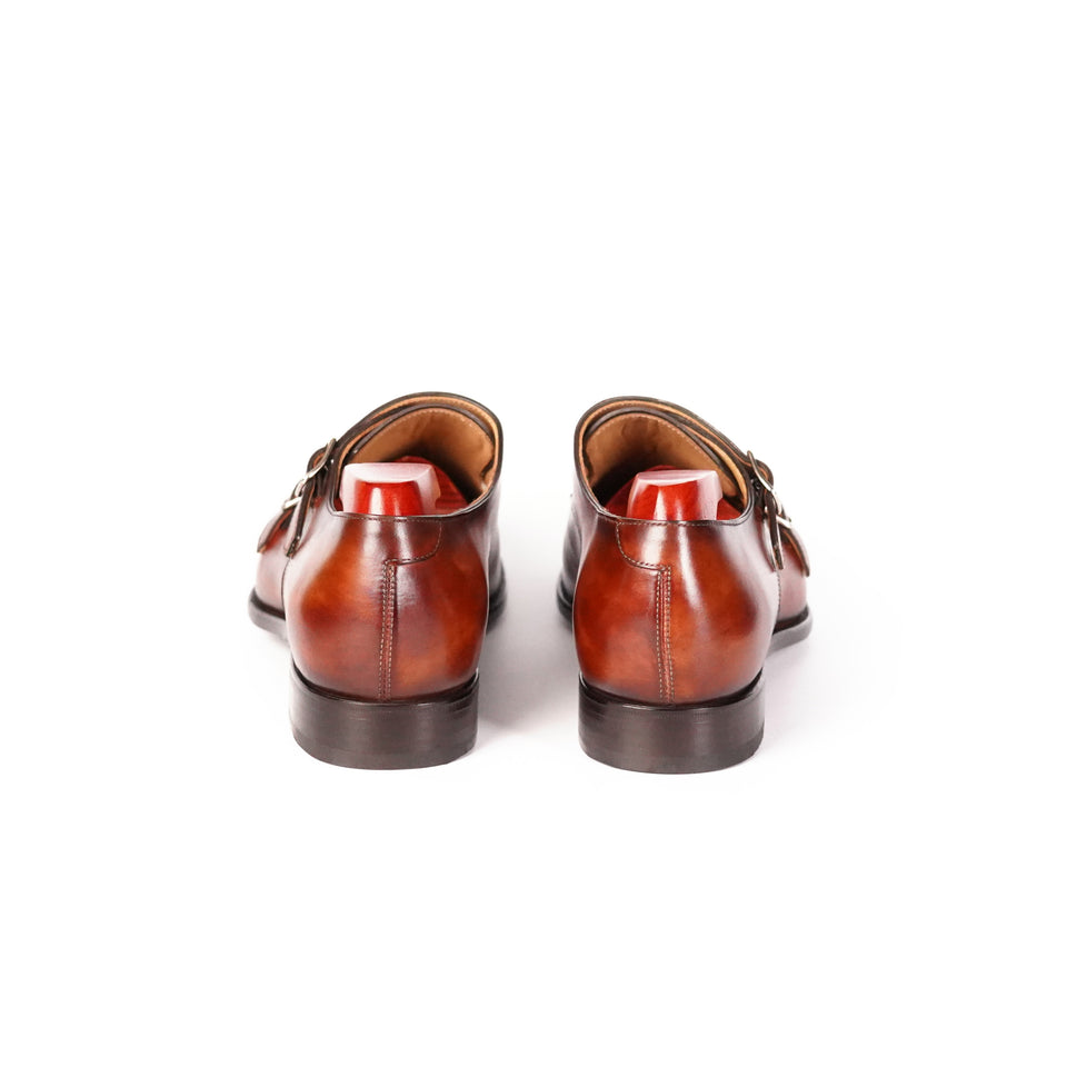 Carlos Santos Double Monk Strap (Wine Shadow) - Camden Connaught Luxury Shoes