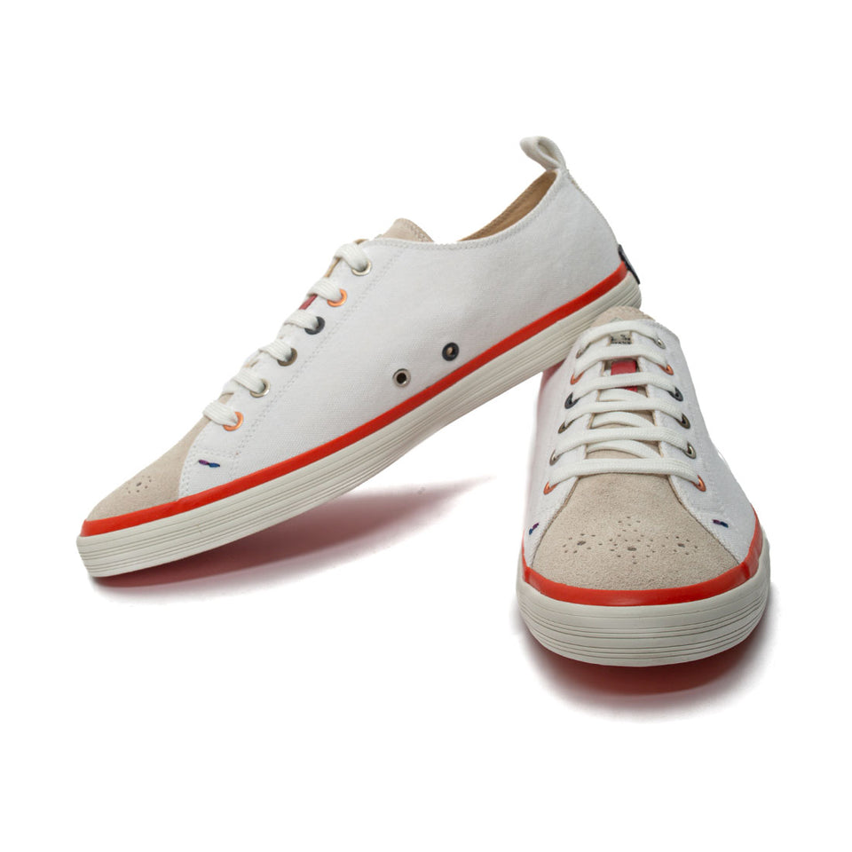 Paul Smith Lokai Bernard White Suede and Canvas Shoes - Camden Connaught Luxury Shoes