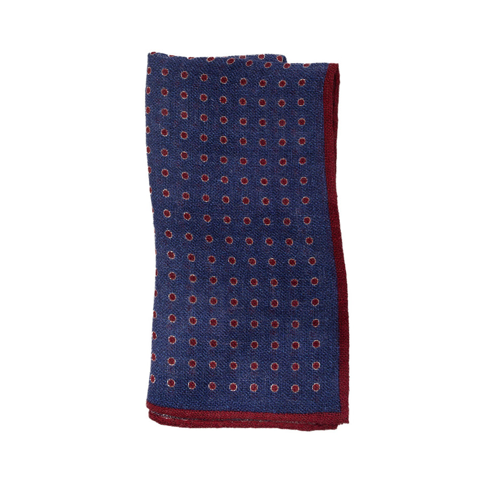 Hackett Circle dot linen Pocket Square - Camden Connaught Luxury Shoes