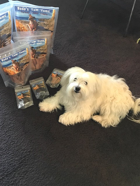Oliver happy his treats have arrived