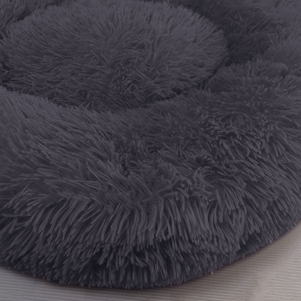 Original Calming Bed For Dogs & Cats With Pet Anti Anxiety - Extra Fluff Comfort & More! - Navy Blue / Deep Gray / 20 Inches / 50 CM