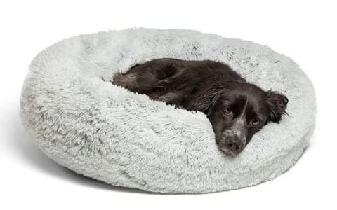 calming dog bed light gray calming pup