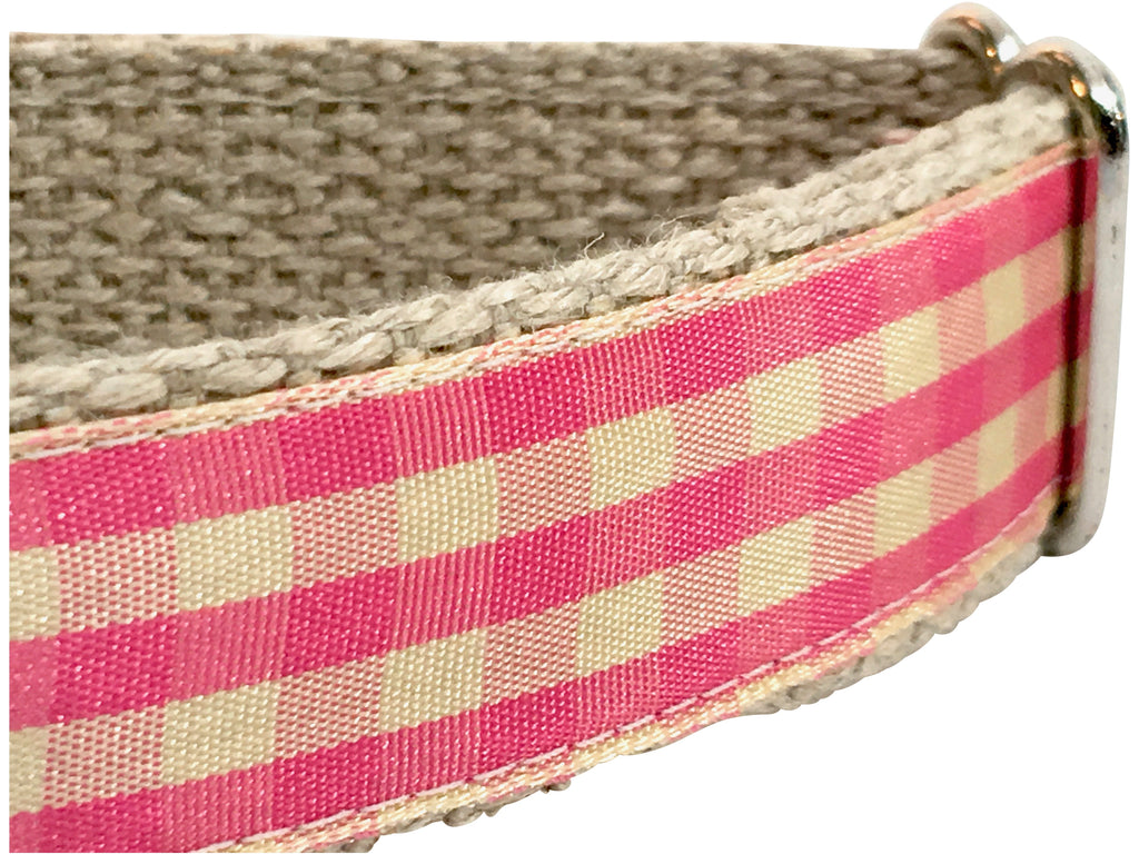 Gingham Strawberry/ Ivory 1""