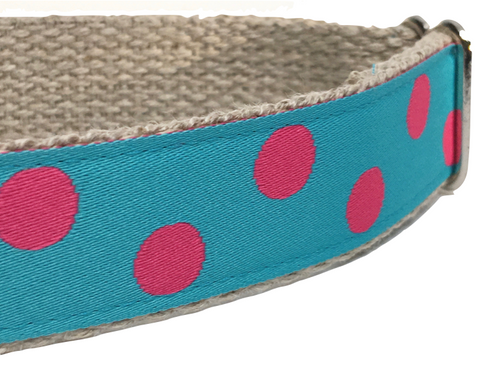 Dotty Turquoise/ Pink 1""