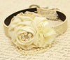 Ivory floral wedding dog collar lace pearl pet ideas events