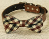 plaid brown dog bow tie ivory collar pet weddings dogs pets puppy cute handmade love family friends best trending new couples happy