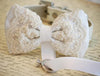 White lace wedding ribbon dog bow tie pet collar marry me