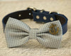 gray dog bow tie polka dots wedding summer pet collar charm birthday gift beach