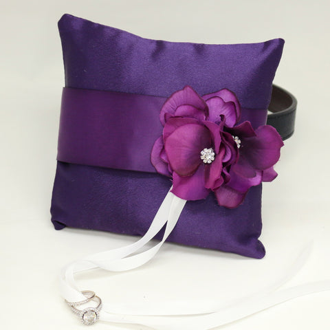 Purple Ring pillow, Dog ring bearer, Pillow attached to Leather dog collar