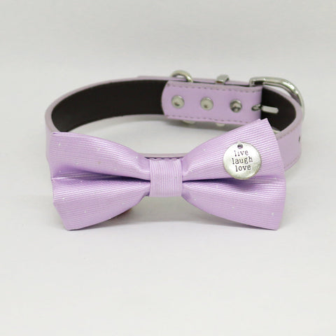 Lilac Dog Bow tie Collar, Lilac Leather dog collar, Live love laugh, handmade bow tie collar, brown, purple, Lilac, brown, Ivory dog collar