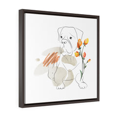 Dog, Wall Art Prints, Printed on canvas, Line Drawing, Minimalist Print,  Square Framed Premium Gallery Wrap Canvas