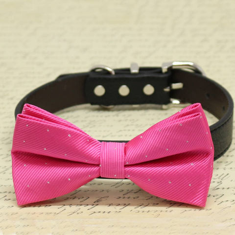 Hot Pink Dog Bow Tie With Leather Collar, Wedding dog accessories