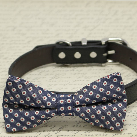 Navy Red Dog Bow Tie attached to collar, Pet Wedding accessory, Red Lovers