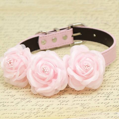 Pink Floral wedding Dog Collar, pets accessory, pink lovers, birthday gifts, Pink Rose Flowers