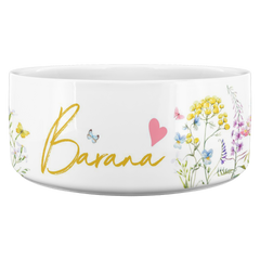 Personalized Dog Bowl Ceramic Pet Food Bowl Water Bowl Cat Bowls Dishwasher and Microwave Safe , Wedding dog collar