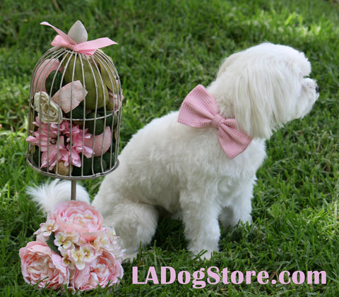 Pink Dog Bow Tie  Collar- Leather dog collar - Wedding accessory