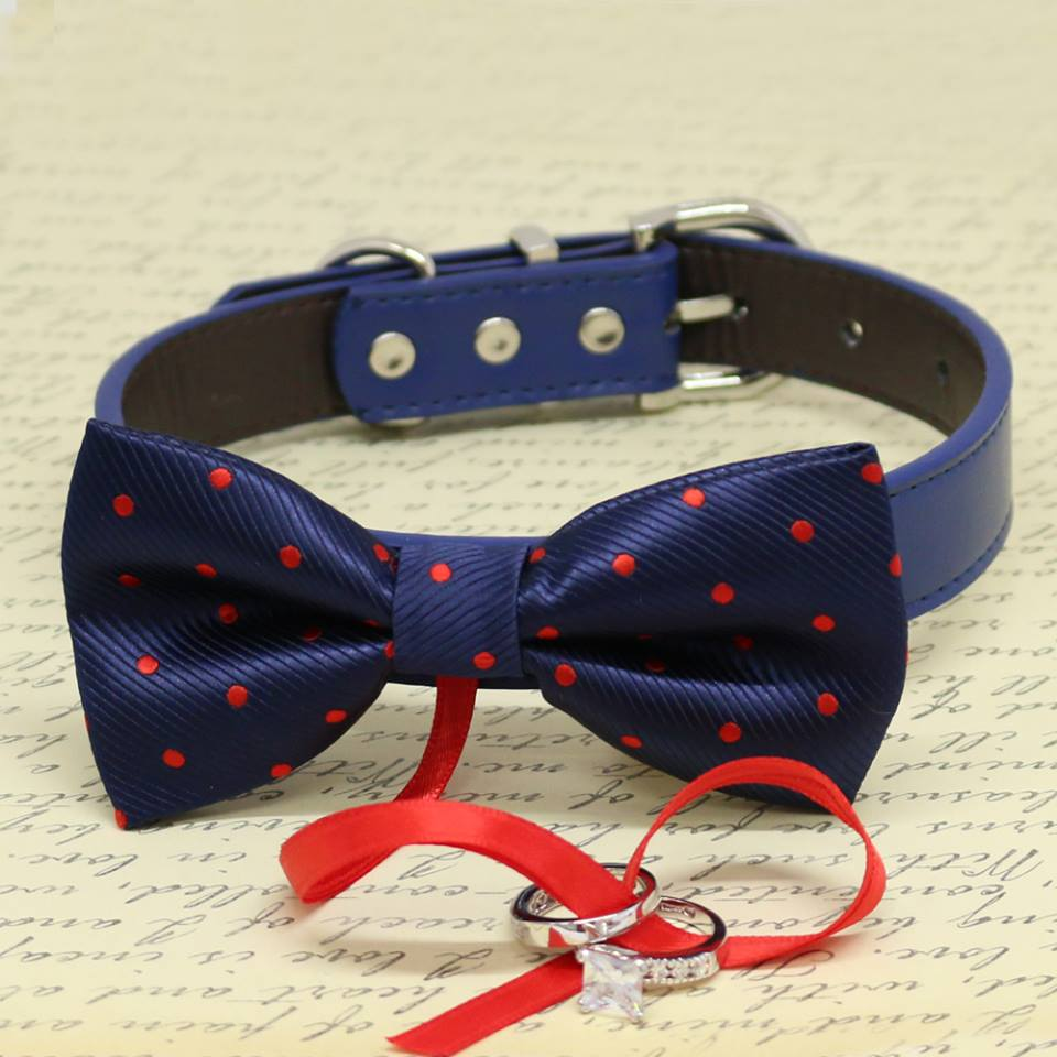 5982f1f5331f Navy Dog Bow Tie, Proposal idea, Polka dots Navy attached to ring bearer  collar
