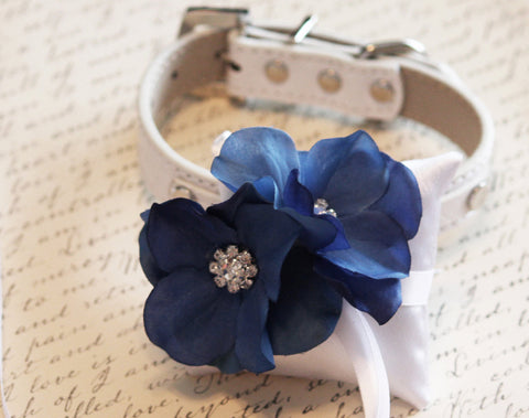 Blue Ring Pillow, White Pillow with blue flower attach to Collar, Ring Bearer