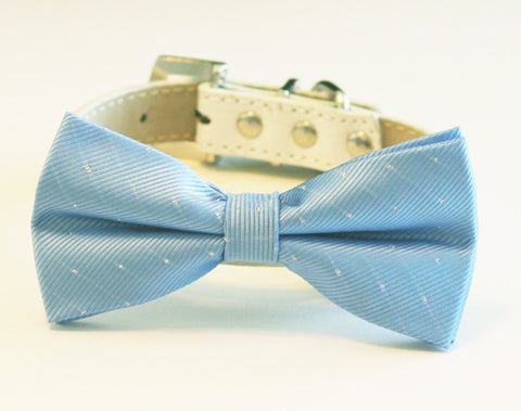 Sky Blue Dog Bow Tie -Chic and Elegant with collar, blue wedding accessory