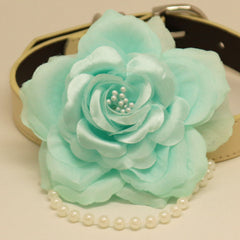 Aqua Floral Dog Collar, Aqua, Flower dog collar, Rose, Pet wedding accessory, Dog collar, leather collar, Some thing blue, Pearl