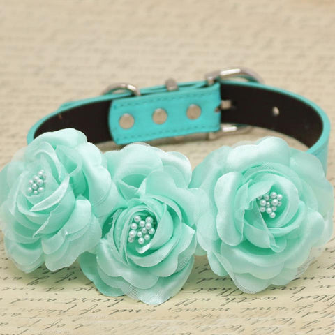 Aqua Flower collar, Adjustable Dog collar, Rose Flowers with Pearls