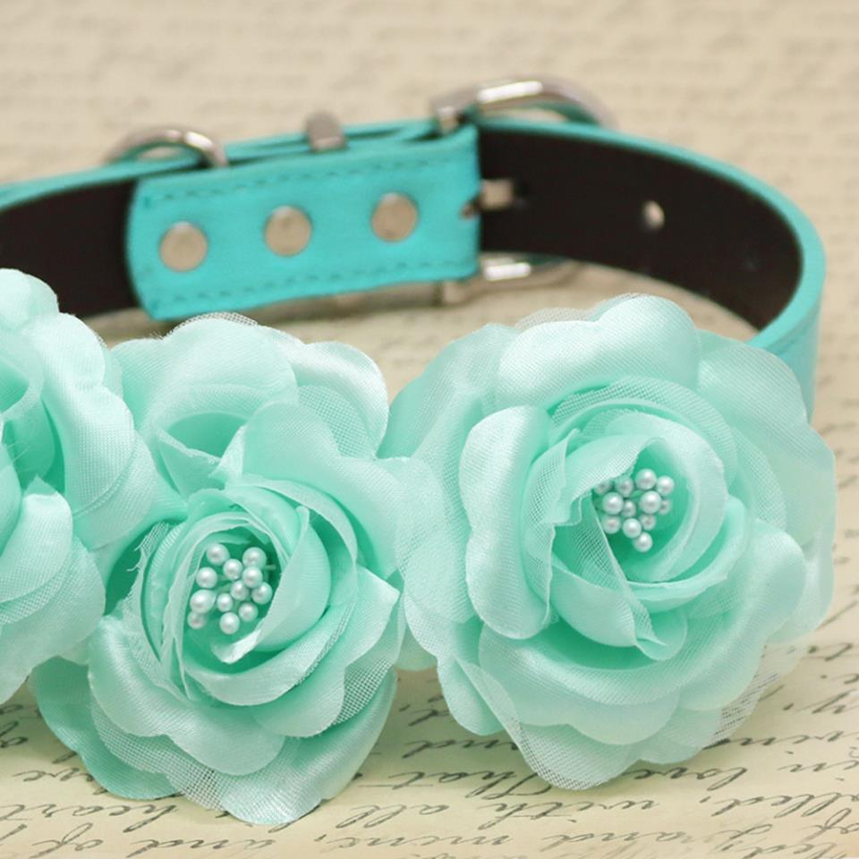 Aqua blue floral dog collar wedding pet accessory rose flowers aqua blue floral dog collar wedding pet accessory rose flowers with pearls izmirmasajfo