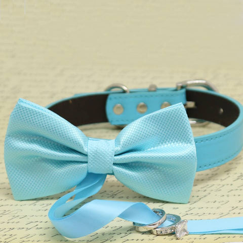 Blue Dog Bow Tie ring bearer Collar, Pet Beach wedding, proposal, something blue