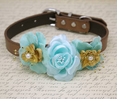 Aqua Blue and Gold wedding Dog Collar, Beach wedding, Floral Aqua Gold Wedding