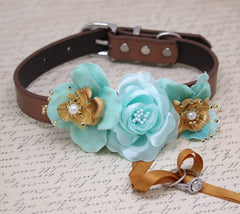 Aqua Blue Gold Ring Bearer Dog Collar, Beach wedding, Ring Bearer Wedding pet ideas