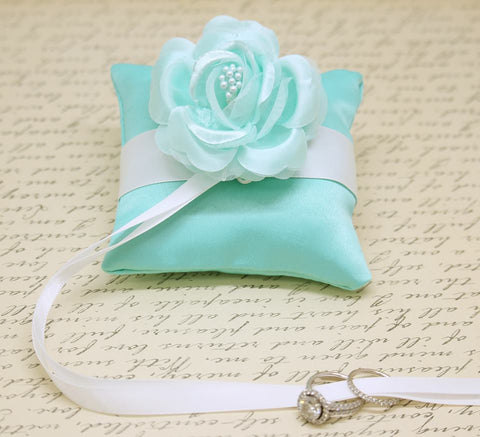Aqua blue Ring Pillow attach to Dog Collar, Aqua Wedding, Beach Wedding, Floral , Wedding dog collar