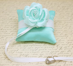 Aqua blue Ring Pillow attach to Dog Collar, Aqua Wedding, Beach Wedding, Floral