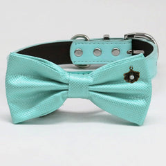 Aqua bow tie Leather collar XS to XXL collar and bow tie adjustable dog of honor dog ring bearer Puppy bow Seashell Pearl Aqua Splash