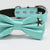 Aqua bow tie Leather collar dog of honor dog ring bearer Puppy XS to XXL collar and bow tie adjustable, Starfish Pearl, Aqua Splash
