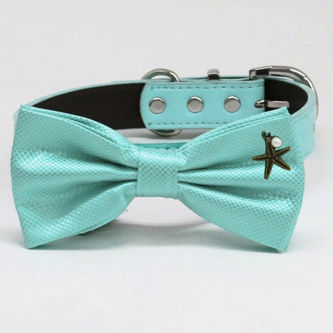 Aqua bow tie Leather collar dog of honor dog ring bearer Puppy XS to XXL collar and bow tie adjustable, Starfish Pearl, Aqua Splash , Wedding dog collar