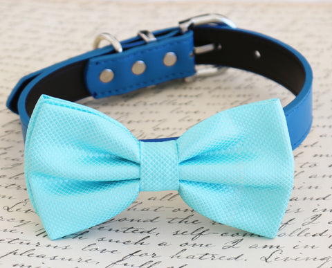 Blue dog Bow tie attached to collar, pet wedding, birthday gift, dog accessory
