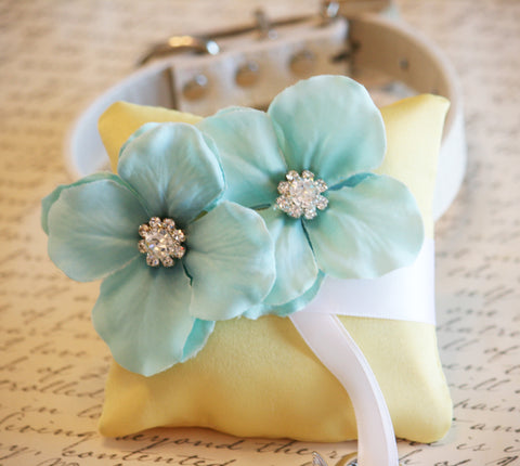 Aqua and yellow Ring Pillow, Dog Ring Bearer,Aqua wedding, beach wedding , Wedding dog collar