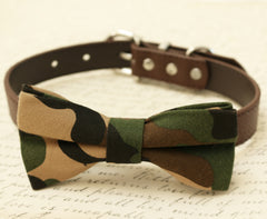 Dog camouflage Bow Tie collar, Pet wedding accessory, Gift , Wedding dog collar