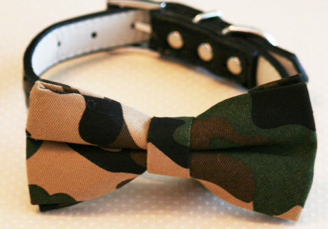 Camouflage Dog Bow Tie attached to collar, Pet Wedding, Dog Lovers