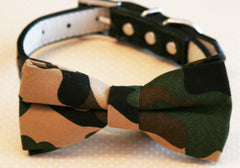 Camouflage Dog Bow Tie attached to collar, Pet Wedding, Dog Lovers , Wedding dog collar