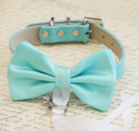Blue Dog Bow Tie ring bearer, Pet lovers, Beach wedding, Ocean wedding collar , Wedding dog collar