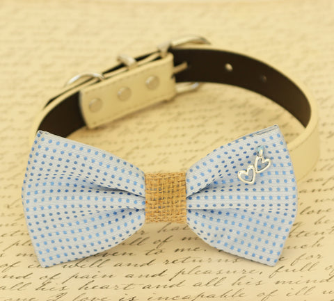 Blue wedding dog Bow tie attached to collar, something blue, dog lovers , Wedding dog collar