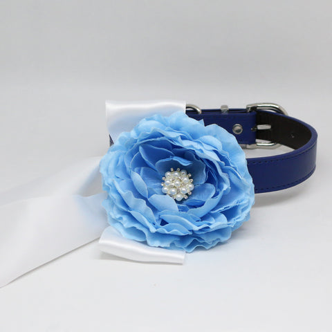 Blue flower dog collar, Something blue, pet wedding accessory, Handmade, leather, Pearl and rhinestone