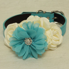 Ivory Blue Rhinestone flower attach to blue, Ivory, black, brown, copper or Champagne leather collar, Some thing blue, girl dog collar
